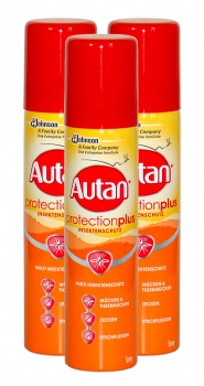 3x Autan PROTECTION PLUS Insektenschutz Spray, je 100ml