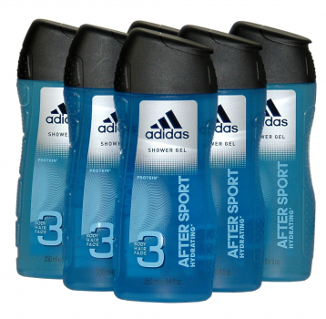 adidas AFTER SPORT, 3 IN 1 Duschgel / Bodywash, 6x250ml